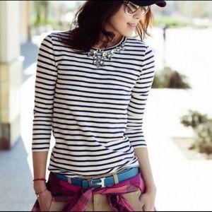 J. CREW | stripe necklace tee navy white Xs